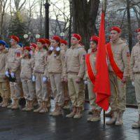 Сегодня в 9 утра прошла Торжественная линейка, посвященная принятию в ряды Юнармии